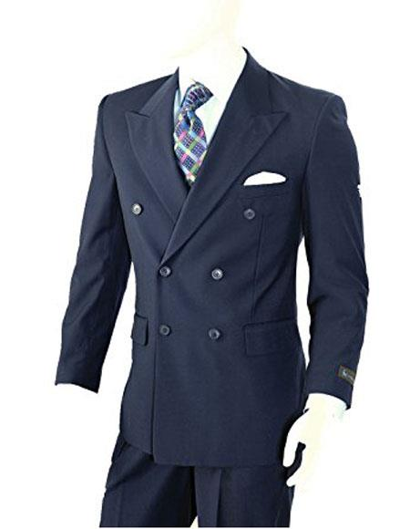 Men's Double Breasted Two-piece Classic Fit Navy Peak Lapel Suit