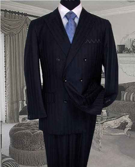 SKU#DB-1 Signature Platinum Stays Cool Discounted Sale NAVY Blue Shadow Stripe Tone on Tone DOUBLE BREASTED SUIT