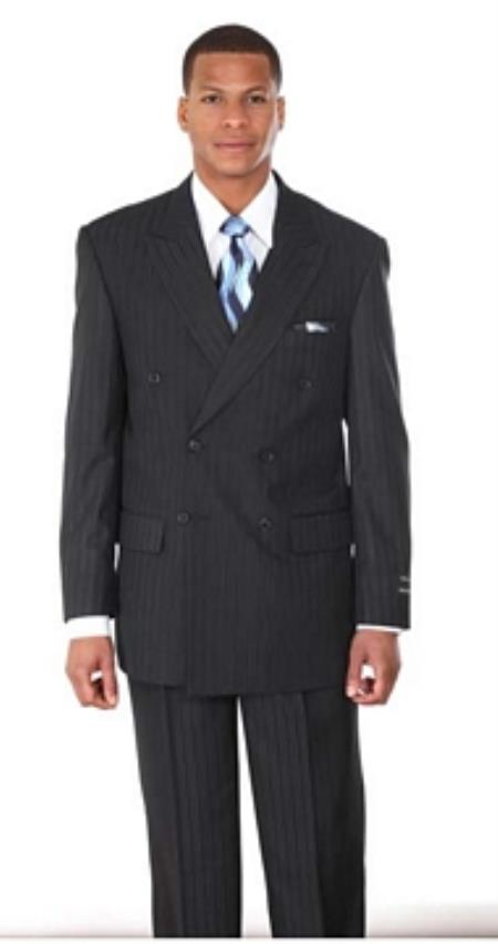 Breasted Pintstripe Suit Navy