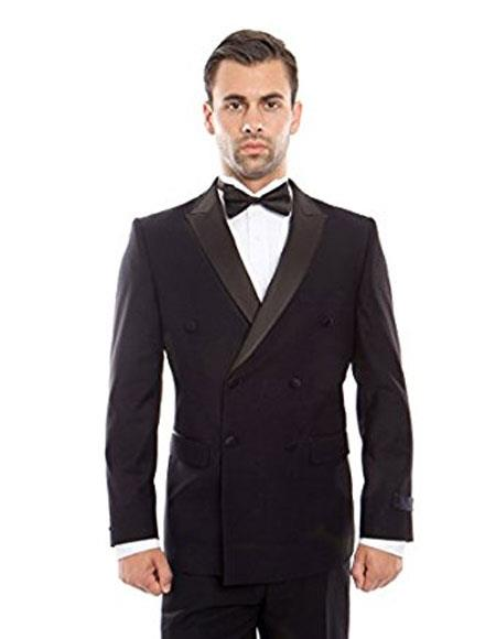Mens Slim Fit Double breasted Suits Navy Tuxedo Flat Front Pants