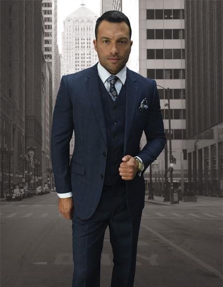 afb874194ad Men's Statement Suits Clothing Confidence Plaid 2 Button Dark Navy Double  Breasted Vest Fine Brands Best Italian Style Cut Suits