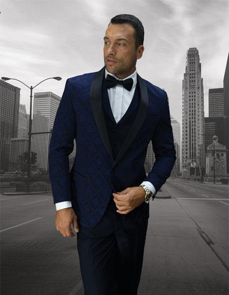 Mens One Button Shawl Lapel Dark Navy vested tuxedo Suit