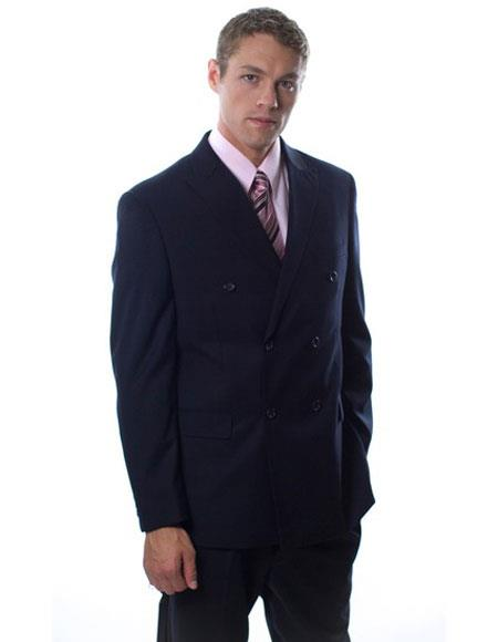 Buy GD1327 Caravelli Men's Double Breasted Button Closure Navy Vested Double Vent Suit
