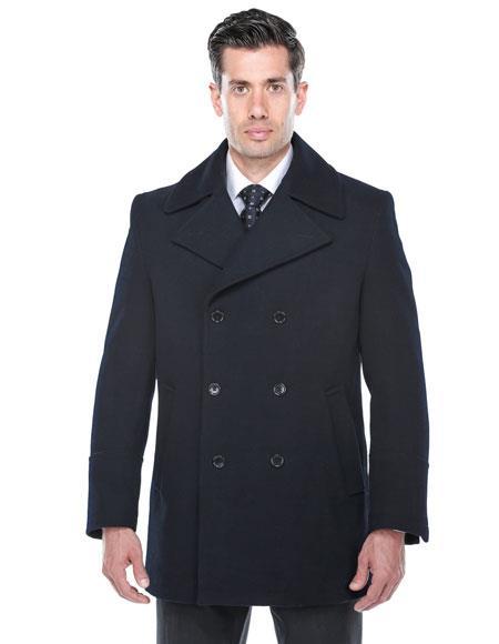 Mens Dress Coat Double Breasted Wool blend Overcoat ~ Long Mens Dress Topcoat -  Winter coat in navy
