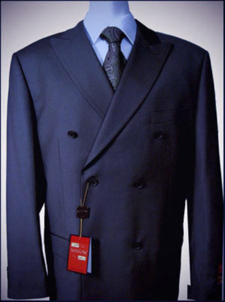 Navy Double breasted peak lapel wool falt front With Side Vent Jacket Pleated Pants suit