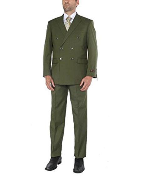 Buy CH1726 Men's Two-Piece Classic Fit Olive Double Breasted Suit Jacket & Pleated Pants