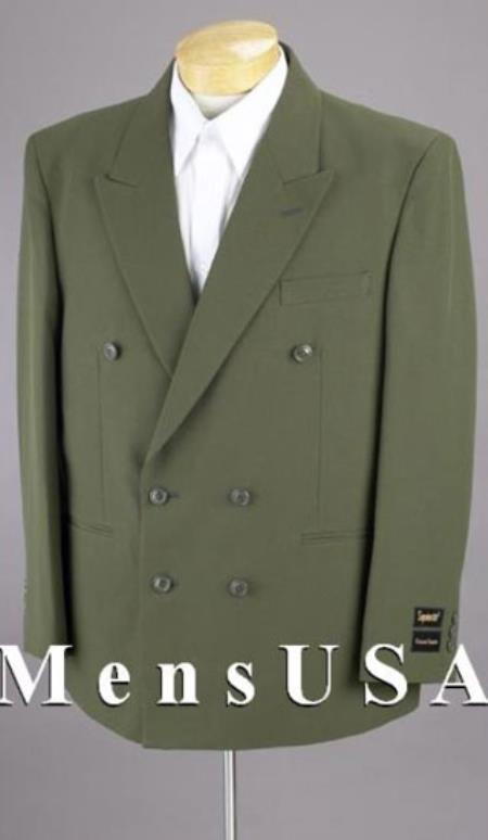 2pc MEN'S SHARP Double Breasted DRESS Olive Green Blazer / Sportcoat Jacket