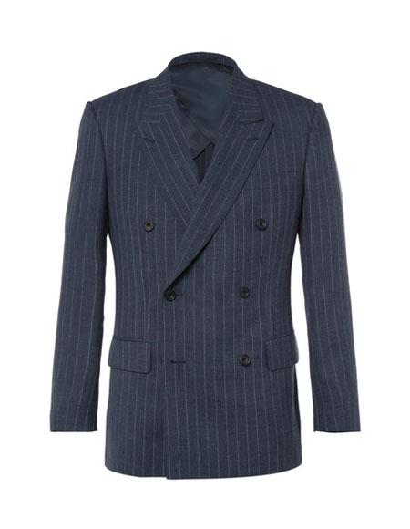 kingsman harrys pinstriped blue Double Breasted suit