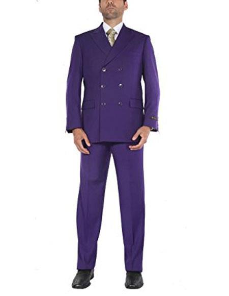 Buy CH1725 Men's Two-Piece Classic Fit Double Breasted Purple Suit Jacket & Pleated Pants