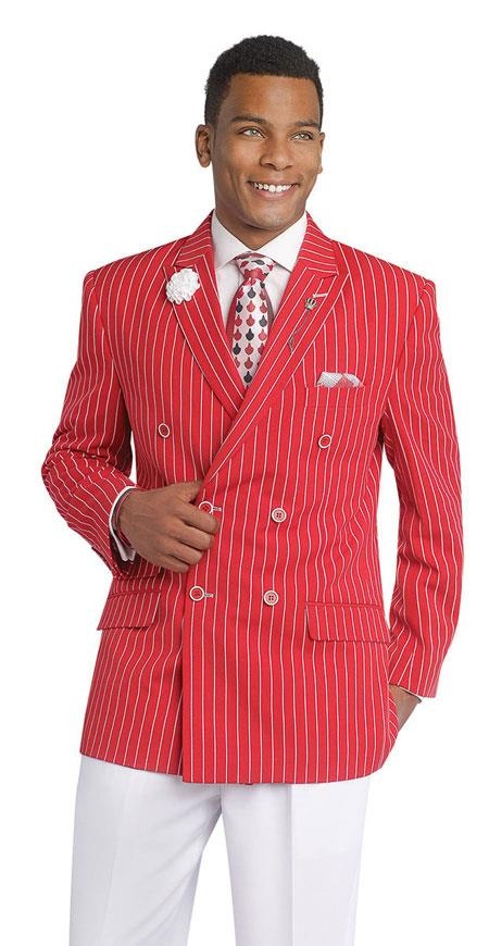 Gangester 1920s Red Clothing Bold Chalk Bold Pinstripe Double Breasted Suits (White Pants)
