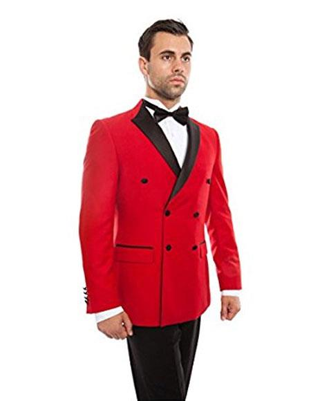 Mens Slim Fit Double breasted Tuxedo Flat Front Pants Red