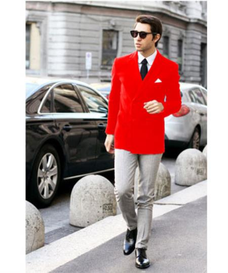 Red Stylish Casual Tailored Double Breast Velvet Sportcoats Jacket