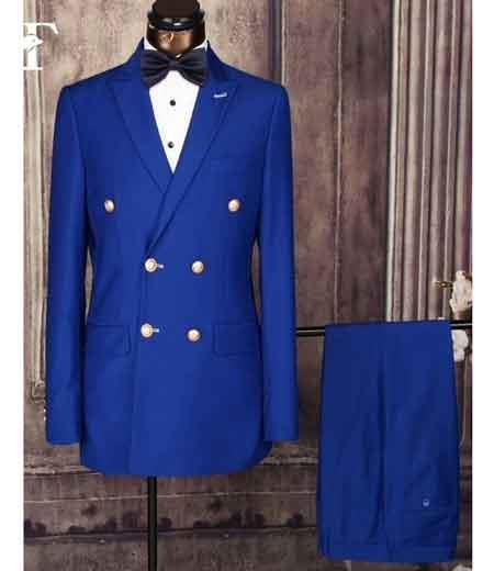 SKU#SM1654 Men's Peak Lapel Double Breasted Royal Blue Suit