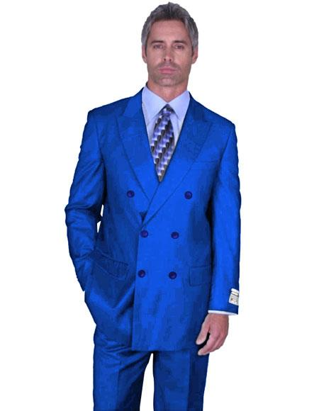 Mens Double Breasted Peak Lapel Royal Blue Dress Suits for Men Side Vented