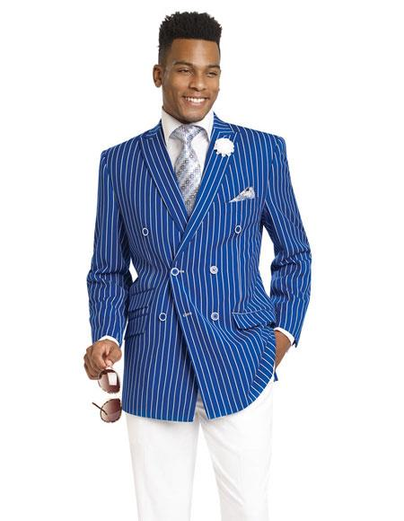 Gangester 1920s Clothing Bold Chalk Bold Pinstripe Double Breasted Royal Dress Suits for Men (White Pants