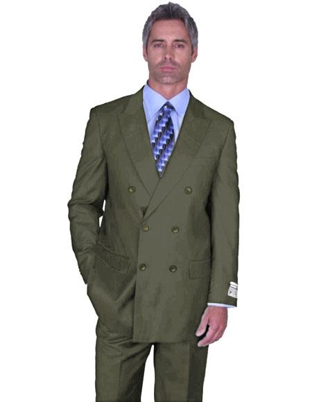 Men's Double Breasted Peak Lapel Sage Green Suit Side Vented