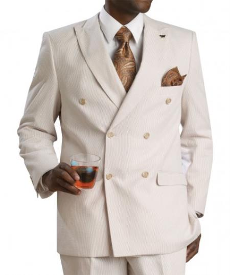 SKU#KA8547 Mens Suit Double Breasted seersucker ~ sear sucker - Tan ~ Beige  Suit