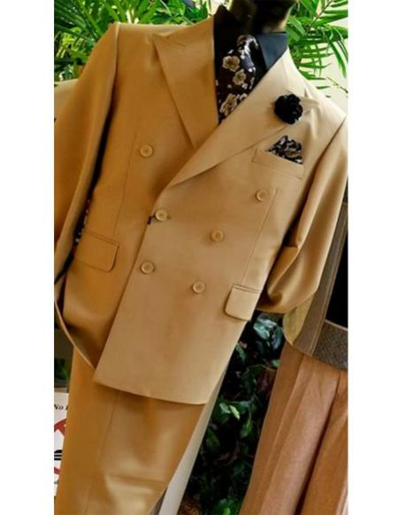 Mens Classic Mens Double Breasted Suits Jacket Tan ~ Bronze ~ Camel  British Khaki Color Suit (Blazer + Pants) Bronze Color