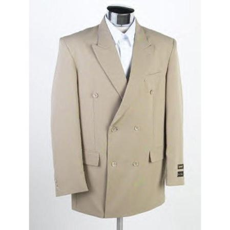 New Mens Double Breasted Tan ~ Beige(Beige) Dress Suit