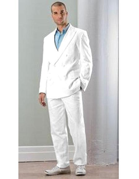Mens Linen Double Breasted Suit (Blazer / Jacket & Pants) White