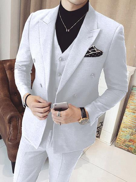 Mens Vested Double Breasted 3 Piece Snow White Suits With Vest