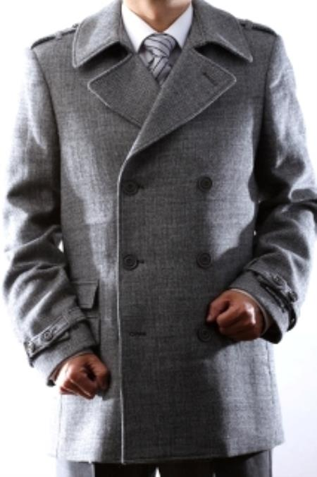 SKU#KA4720 Men's Double Breasted Winter Peacoat 3/4 Length Wool Winter Coat, Black, Gray