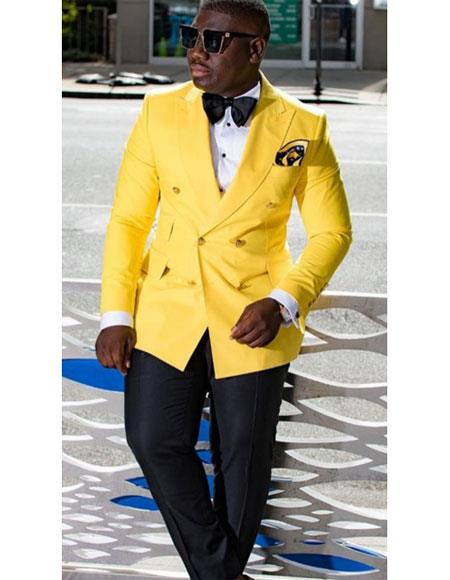 Men's Yellow Double Breasted Peak Lapel Besom Chest Pocket Jacket