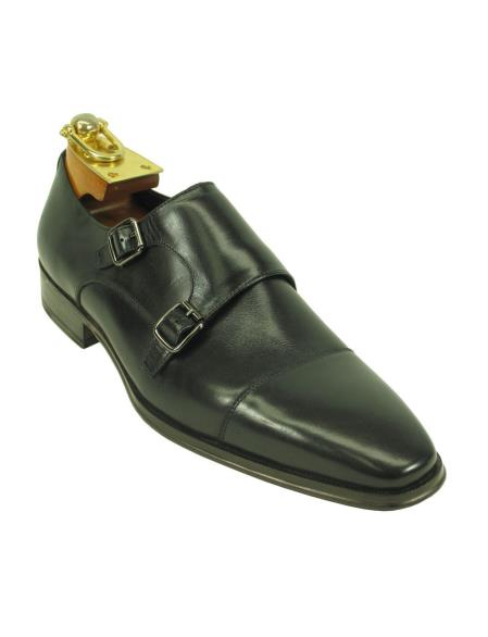 Men's Leather Double Buckle Style Black Fashionable Carrucci Ombre Black Dress Shoe