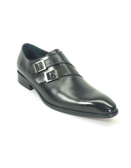 Men's Black Fashionable Leather Stylish Dress Shoe- Men's Buckle Dress Shoes