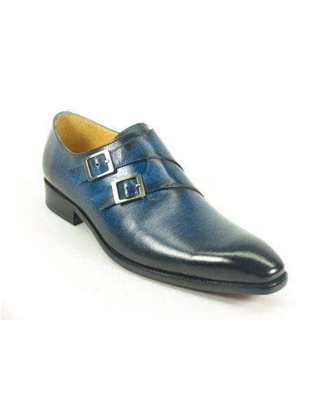 Men's Carrucci Double Monk Strap Leather Fashionable Stylish Dress Shoe Navy - Teal Dress Shoe - Antique blue Shoe- Men's Buckle Dress Shoes