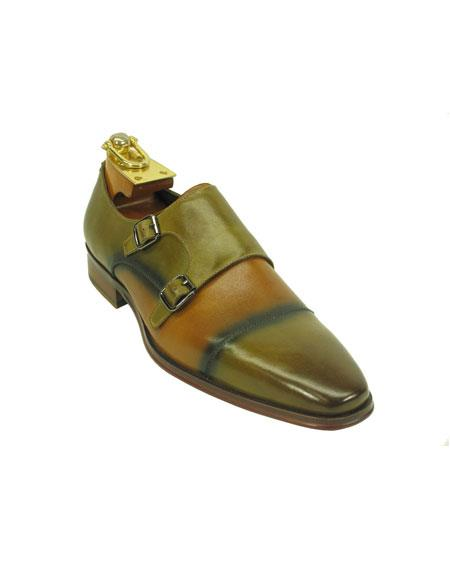 Mens Fashionable Two Tone Monk Strap Loafer Tan Leather Shoes