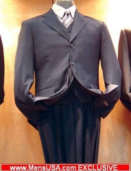 SKU# HSK604 Double Vent 3 Buttons Darkest Navy Vested 3 Pieces Super 150s Wool $179