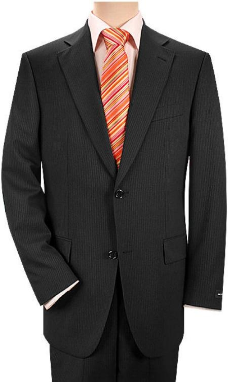 SKU# XFJ553 Double Vent Black 2 Buttons Double Pleated Mens Super Wool 2 Button $159