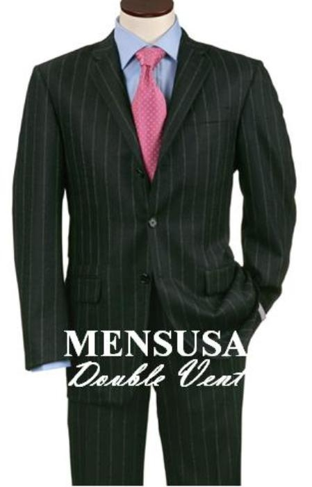 SKU# MWK676 Double Vent Black Smoth Pinstripe 3 Buttons Men's Dress Business premier quality italian fabric Suits Super 140's Wool