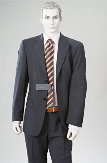 SKU# SV169 Double Vent Cahrcoal Gray Super Wool 2 BUTTON Suit