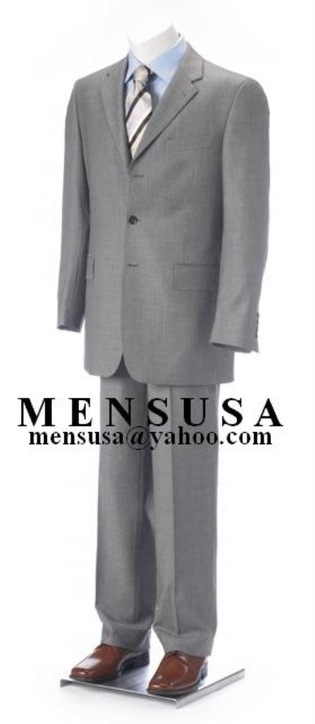 SKU# XUG864 Double Vent Clowdy Light Gray Super 140s Wool 3 Buttons Mens Suits
