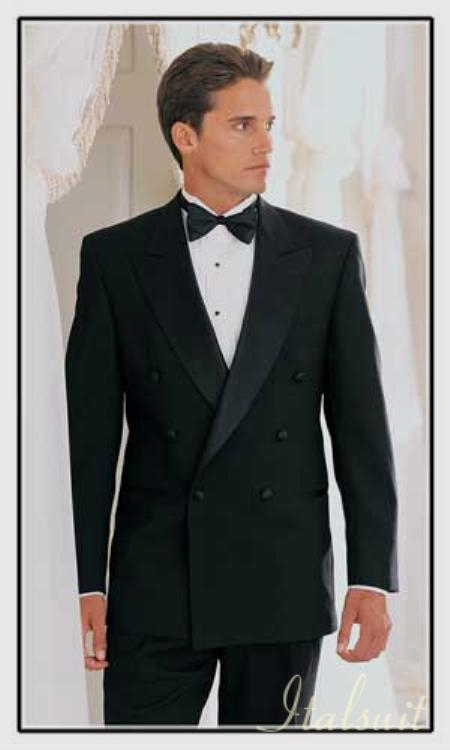 SKU#HD389 Double Breasted Black Tuxedo Super 150 Extra Fine Italian Wool Hand Made French Cut 6 on 1 Button Closer Style Jacket $769