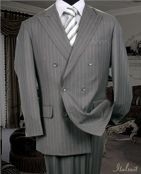SKU#SH489 Double Breasted Color Gray Mens Suit With Pinstripe $179