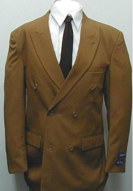 ski#C762TA  SHARP Double Breasted DRESS SUIT Coffe~Rust~Copper (Light Brown) Suits $99