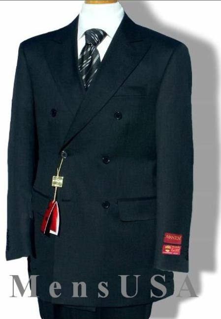 SKU#JK7789 Double Breasted Suit Jacket + Pleated Pants Super 140s 100% Wool Dark Navy Blue