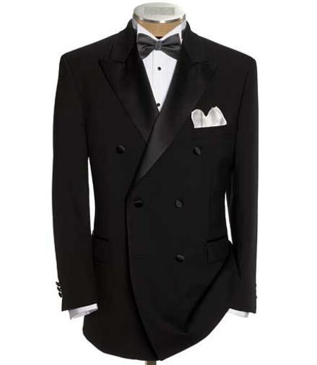 SKU#AP230 Black Double Breasted Tuxedo Jacket + Pants
