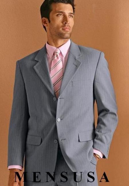 SKU# NGR155 $1295 TSk7 Dress To Impress Light Gray Pinstripe 3 Buttons Pinstripe Ultimate Wool