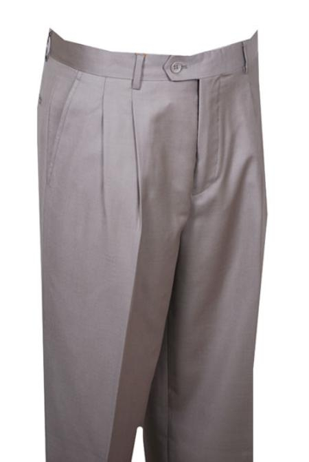 SKU#QE324 long rise big leg slacks Dress Pants Beige Wide Leg Pleated baggy dress trousers $99