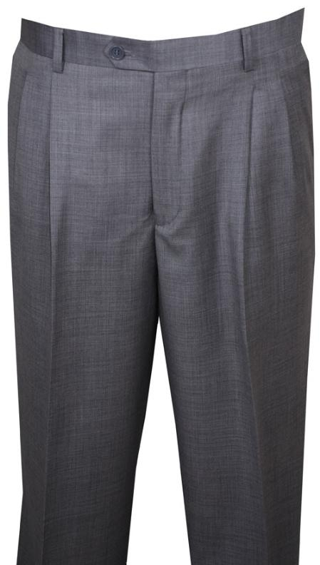 SKU#KL110 long rise big leg slacks Dress Pants Light Gray Wool Wide Leg PantsPleated baggy dress trousers