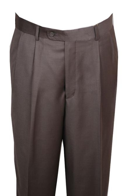 SKU#AV132 long rise big leg slacks Dress Pants Taupe Wide Leg Pleated baggy dress trousers $99