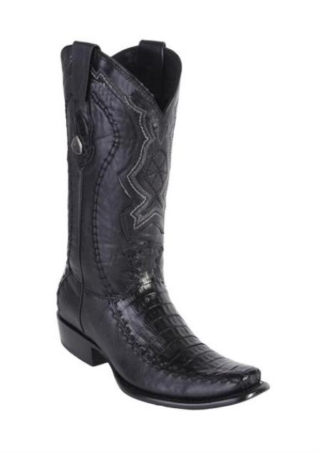 men's wild west dubai toe style black genuine caiman belly handcrafted boots