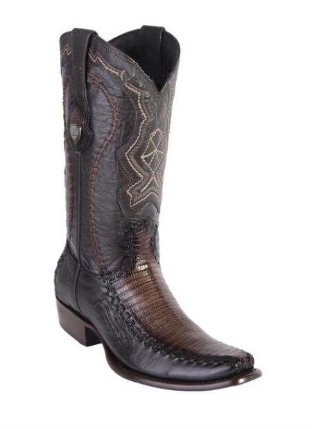 Mens Wild West Dubai Toe Faded Brown Genuine Teju Lizard And Deer Dress Cowboy Boot Cheap Priced For Sale Online Handcrafted