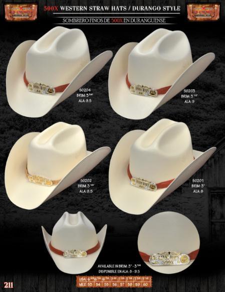 500x Tejana Durango Style Western Cowboy Straw Hats