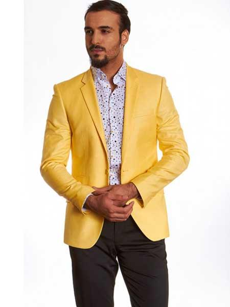 Mens Dylan Yellow 2 Button Single Breasted Notch Lapel European Fit Blazer