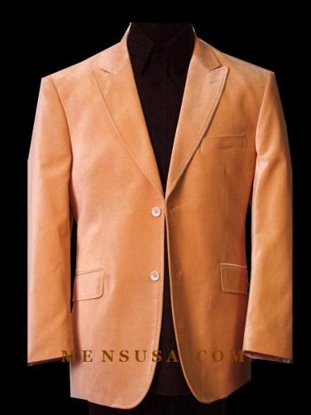 SKU# EJV168 MULB-313 SOLID Orange~Peach VELVET SPORT COAT THIS JACKET IS A WINNER 2 BUTTON WITH BACK
